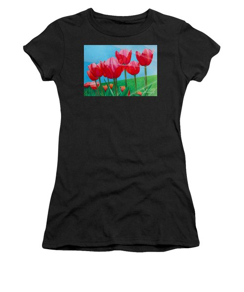 Blue Ray Tulips Women's T-Shirt