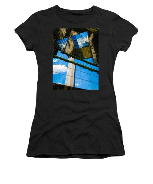 Women's T-Shirt (Junior Cut) featuring the photograph Blue Sky Reflections On A London Skyscraper by Peta Thames