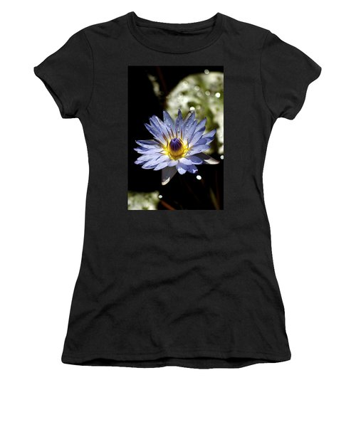 Women's T-Shirt (Junior Cut) featuring the photograph Waterlily After The Rain ... by Lehua Pekelo-Stearns