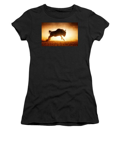 Blue Wildebeest Running In Dust Women's T-Shirt