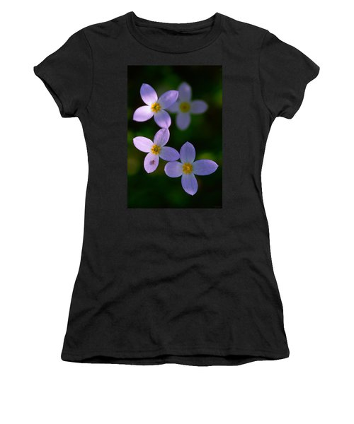Women's T-Shirt (Junior Cut) featuring the photograph Bluets With Aphid by Marty Saccone