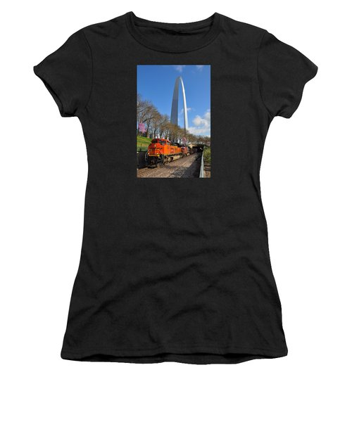 Bnsf Ore Train And St. Louis Gateway Arch Women's T-Shirt