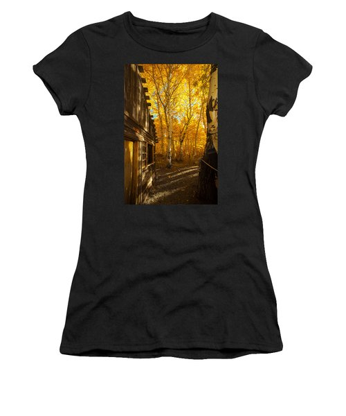 Boat House Among The Autumn Leaves  Women's T-Shirt (Athletic Fit)