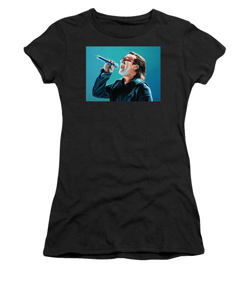 Bono Of U2 Painting Women's T-Shirt (Junior Cut) by Paul Meijering