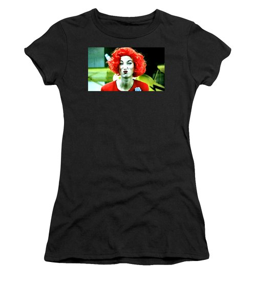 Both Eyes Blinking Means Trouble Higher Up Women's T-Shirt (Athletic Fit)