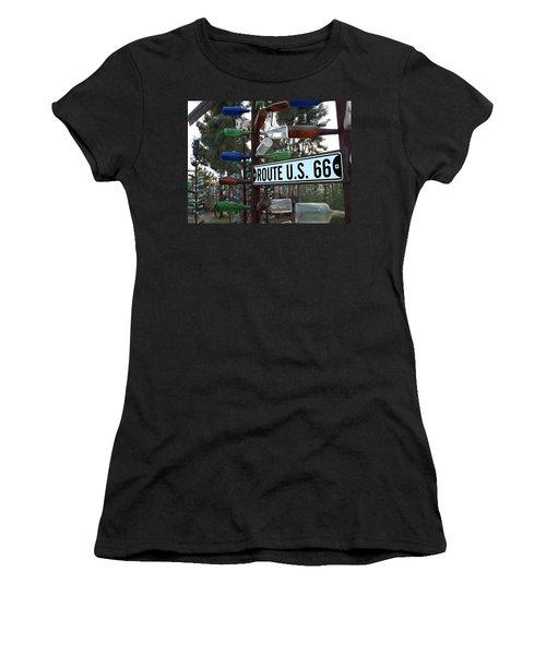 Bottle Trees Route 66 Women's T-Shirt (Athletic Fit)