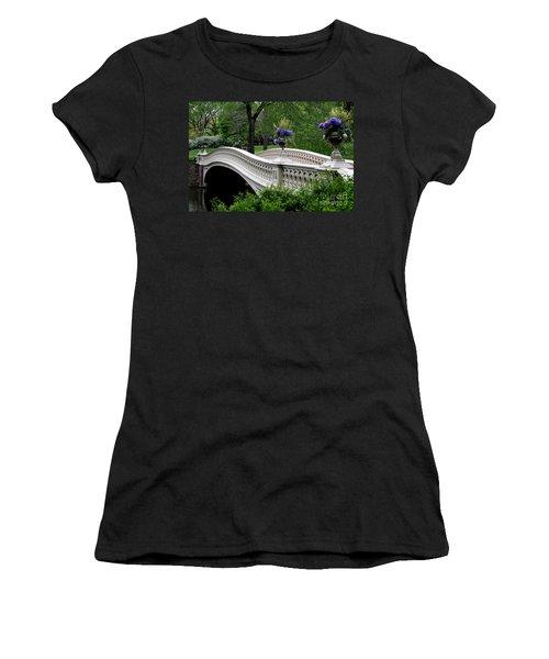 Bow Bridge Flower Pots - Central Park N Y C Women's T-Shirt