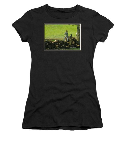 Women's T-Shirt (Junior Cut) featuring the photograph Boys Will Be Boys by Kathy Barney