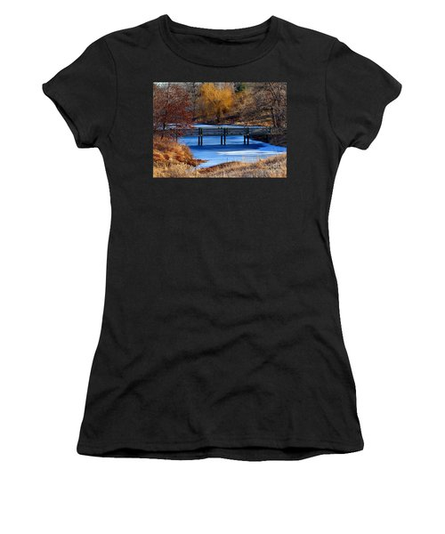 Women's T-Shirt (Junior Cut) featuring the photograph Bridge Over Icy Waters by Elizabeth Winter