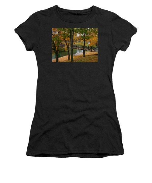 Women's T-Shirt (Junior Cut) featuring the photograph Bridge To Fall by Elizabeth Winter