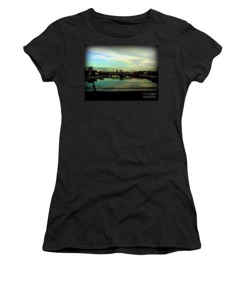 Women's T-Shirt (Junior Cut) featuring the photograph Bridge With White Clouds by Miriam Danar