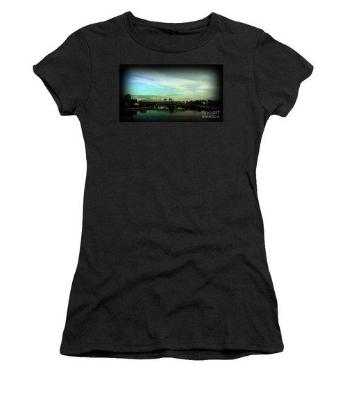 Women's T-Shirt (Junior Cut) featuring the photograph Bridge With White Clouds Vignette by Miriam Danar
