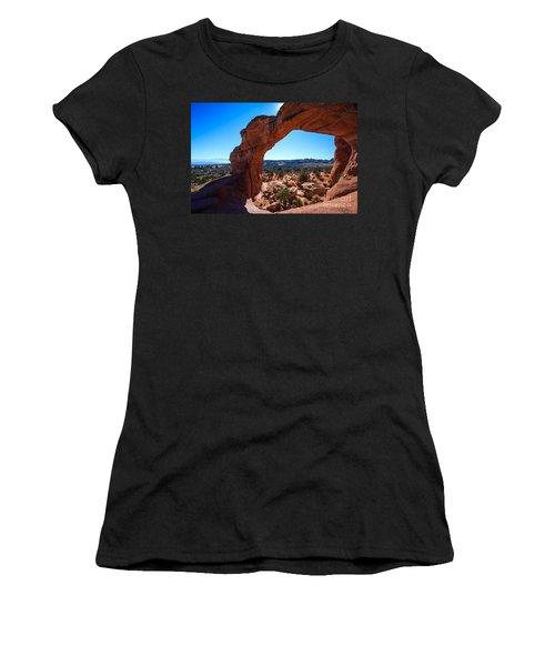 Women's T-Shirt (Junior Cut) featuring the photograph Broken Arch Under Blue Sky by Peta Thames