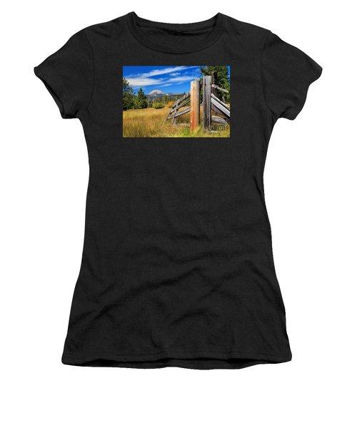 Broken Fence And Mount Lassen Women's T-Shirt