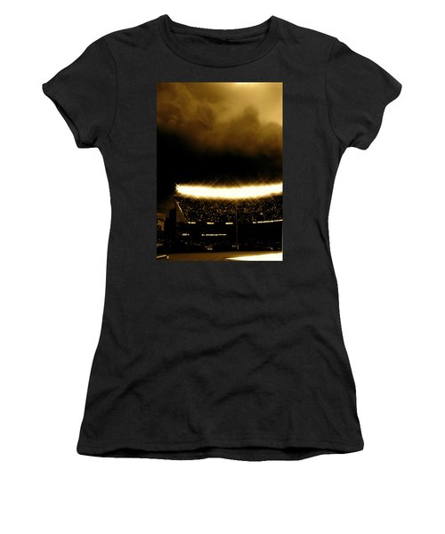 Bronx Storm Yankee Stadium  Women's T-Shirt (Junior Cut) by Iconic Images Art Gallery David Pucciarelli