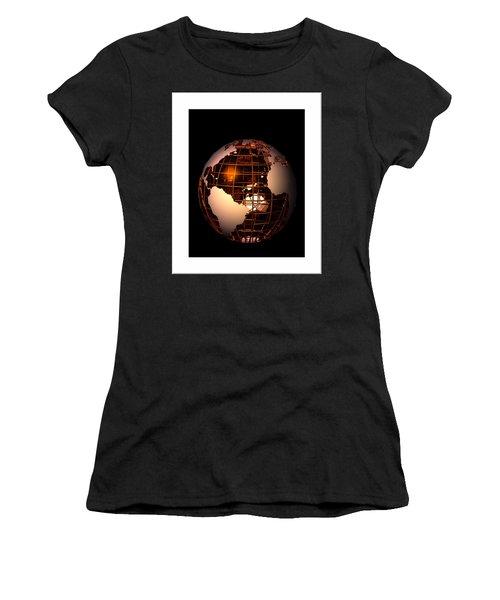 Women's T-Shirt (Junior Cut) featuring the digital art Bronze Globe... by Tim Fillingim