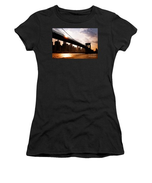 Brooklyn Bridge And Skyline Manhattan New York City Women's T-Shirt (Junior Cut) by Sabine Jacobs