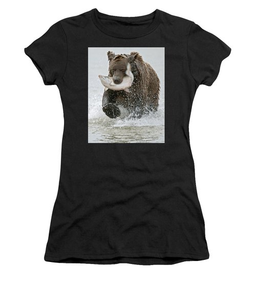Brown Bear With Salmon Catch Women's T-Shirt (Athletic Fit)