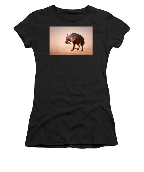Brown Hyena With Bat-eared Fox In Jaws Women's T-Shirt
