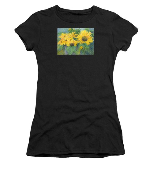 Bucket Of Sunflowers Colorful Original Painting Sunflowers Sunflower Art K. Joann Russell Artist Women's T-Shirt (Athletic Fit)