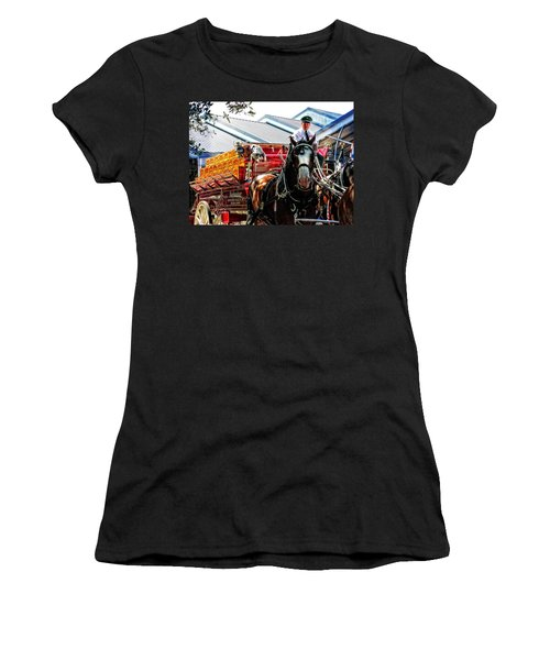 Women's T-Shirt (Junior Cut) featuring the photograph Budweiser Beer Wagon by Mike Martin