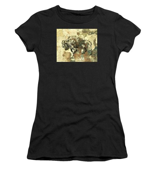 Women's T-Shirt (Junior Cut) featuring the photograph Buffalo 7 by Larry Campbell