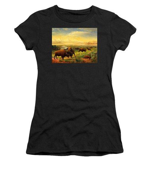 Buffalo Fox Great Plains Western Landscape Oil Painting - Bison - Americana - Historic - Walt Curlee Women's T-Shirt