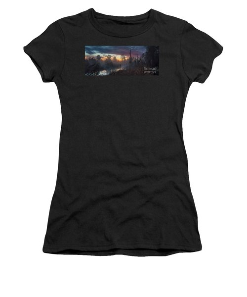 Bulrush Sunrise Full Scene Women's T-Shirt (Athletic Fit)