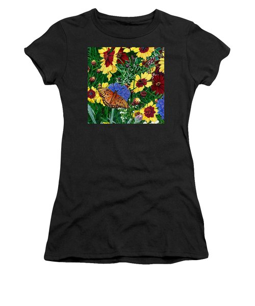Butterfly Wildflowers Garden Floral - Square Format Image - Spring Decor - Green Blue Orange-2 Women's T-Shirt