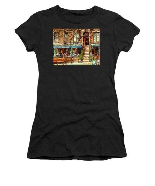 Cafe Mogador Moroccan Mediterranean Cuisine New York Paintings East Village Storefronts Street Scene Women's T-Shirt