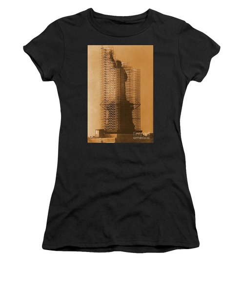 Women's T-Shirt (Junior Cut) featuring the photograph Lady Liberty Statue Of Liberty Caged Freedom by Michael Hoard