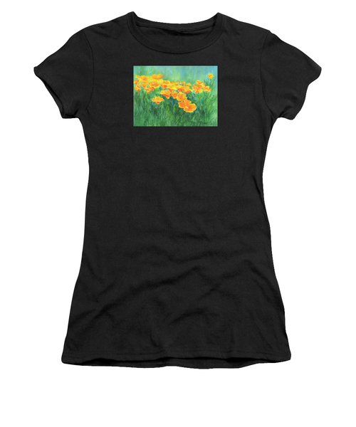 California Golden Poppies Field Bright Colorful Landscape Painting Flowers Floral K. Joann Russell Women's T-Shirt (Athletic Fit)