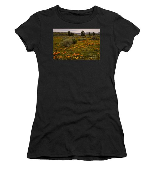 California Poppies In The Antelope Valley Women's T-Shirt (Junior Cut) by Nina Prommer