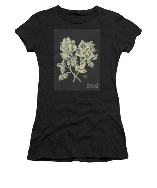 Women's T-Shirt (Junior Cut) featuring the painting Cameo Rose by Carol Wisniewski