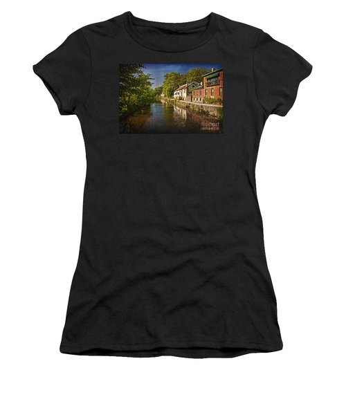 Women's T-Shirt (Junior Cut) featuring the photograph Canal Along The Porkyard by Debra Fedchin