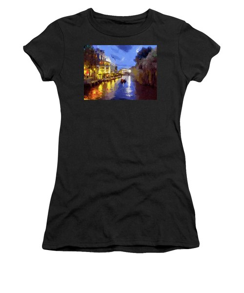 Women's T-Shirt (Junior Cut) featuring the painting Water Canals Of Amsterdam by Georgi Dimitrov