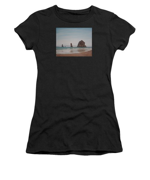 Cannon Beach Haystack Rock Women's T-Shirt (Athletic Fit)
