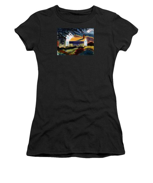 Women's T-Shirt (Junior Cut) featuring the painting Cape Cod Moon by John Williams