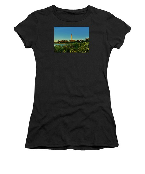 Cape May Lighthouse Above The Flowers Women's T-Shirt (Athletic Fit)