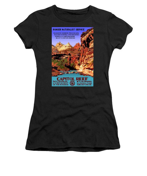 Capitol Reef National Park Vintage Poster Women's T-Shirt (Junior Cut) by Eric Glaser