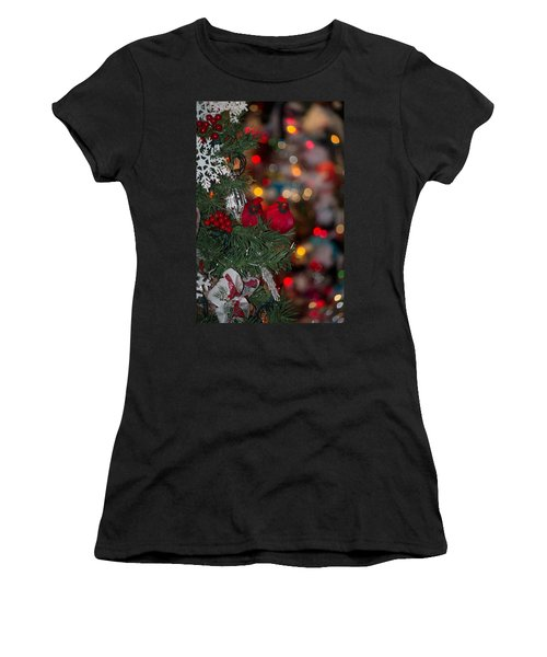 Women's T-Shirt (Junior Cut) featuring the photograph Cardinals At Christmas by Patricia Babbitt