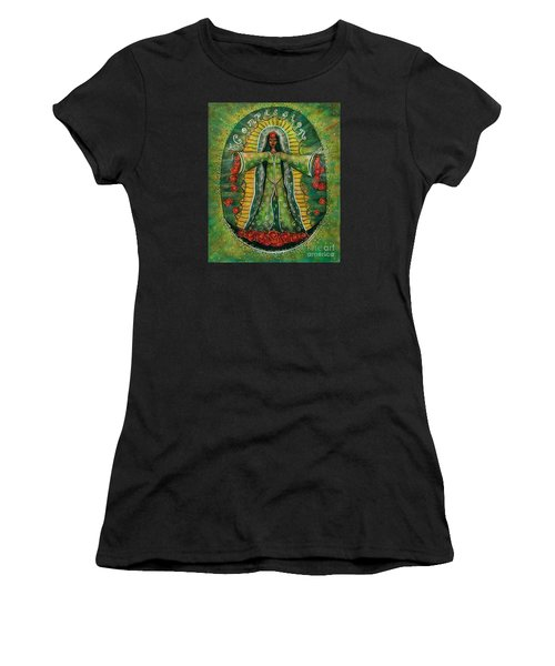 Women's T-Shirt (Junior Cut) featuring the painting Cascade Of Roses Madonna by Deborha Kerr