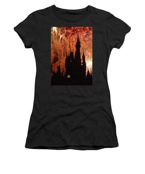 Women's T-Shirt (Junior Cut) featuring the photograph Castle Fire Show by David Nicholls