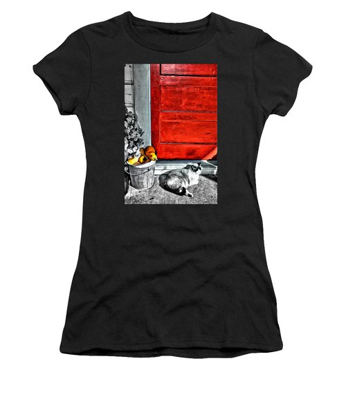 Cat By The Red Door Women's T-Shirt (Athletic Fit)