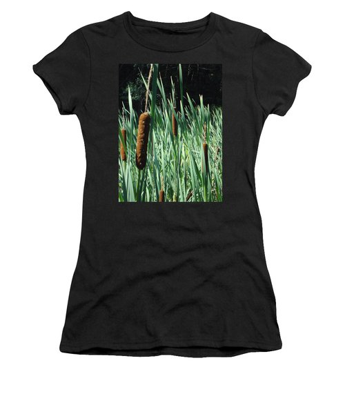 Women's T-Shirt (Junior Cut) featuring the photograph Cattails A Plenty by Michael Porchik
