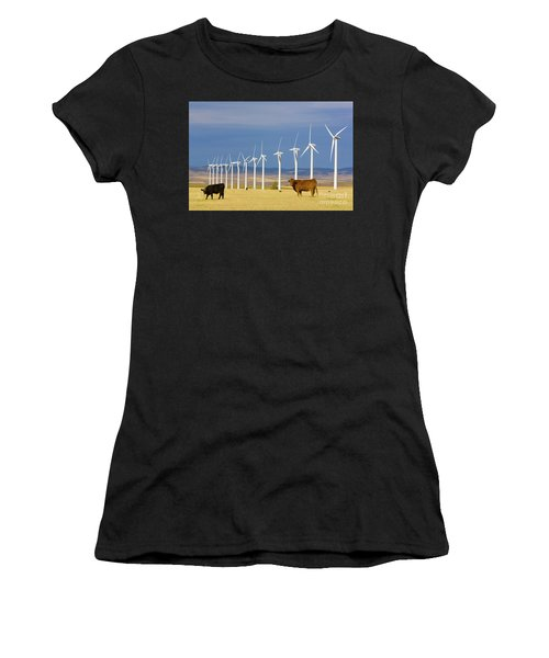 Cattle And Windmills In Alberta Canada Women's T-Shirt