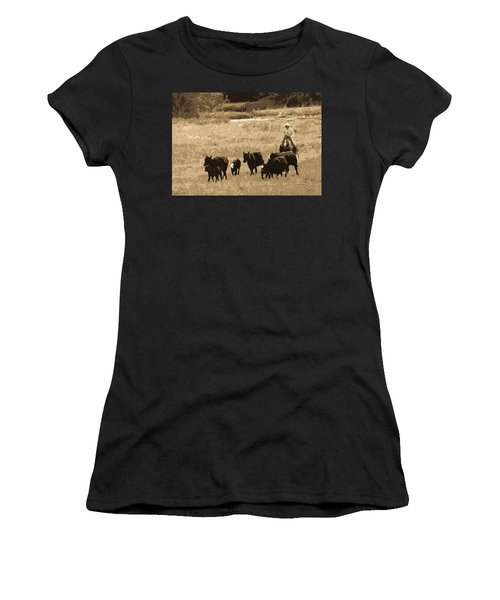 Cattle Round Up Sepia Women's T-Shirt (Athletic Fit)