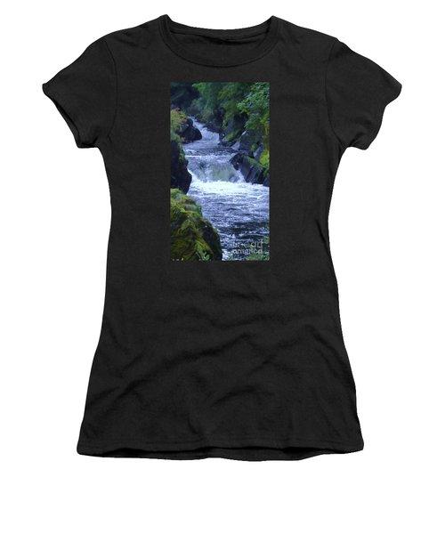Women's T-Shirt (Junior Cut) featuring the photograph Cenarth Falls by John Williams