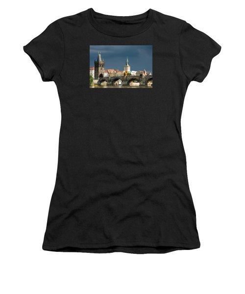 Charles Bridge Prague Women's T-Shirt (Junior Cut) by Matthias Hauser