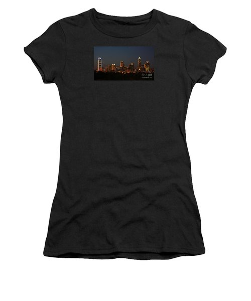 Charlotte City Skyline At Sunset Women's T-Shirt (Junior Cut) by Kevin McCarthy
